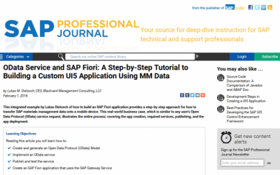 Publication: OData Service and SAP Fiori: A Step-by-Step Tutorial to Building a Custom UI5 Application Using MM Data